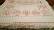 Vintage Hand Embroidered Hot Pink Peacock Tablecloth