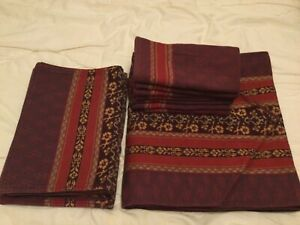 vintage laura ashley aubergine and burgandy table linen set: runner mats napkins
