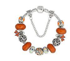 "Orange Ribbon Cancer Awareness European Bead Charm Silver 7.5"" Bracelet 19cm"