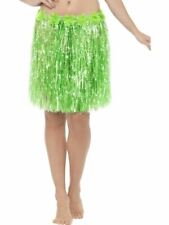 Hawaiian Hula Skirt with Flowers, Adult Fancy Dress Costumes, NEON GREEN