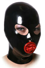 Erotic latex mask with oral shealth, seamless gummi rubber hood with condom