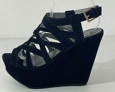 Truffle Black Strappy Platform Wedges Shoes Size UK 4 EUR 37
