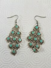 Metal/Turquoise filigree drop earrings