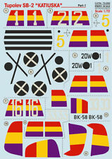 Print Scale 72-292 - 1/72 Wet Decal For Tupolev Sb -2 Katiuska Part-1 Aircraft