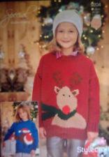 "Stylecraft Christmas DK Knitting pattern Childs Jumper robin rudolph 20-30"" 9204"
