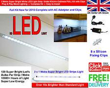 2 Metre Super Bright White LED Light Strip Under Kitchen Cabinets FULL Kit 2015