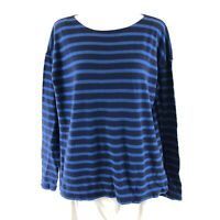 J Crew Womens Top Deck-Striped T Shirt Blue Navy Boat Neck Oversized Size S
