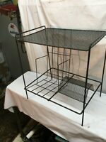 Vintage Mid Century Modern Black Wire Record Stand Side Table Magazine Rack