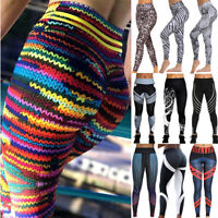 Womens Print Leggings Yoga Pants High Waist Push Up Running Gym Sports Trousers
