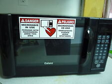 """Danger Microwave In Use Pacemaker Warning Bilingual Adhesive Decal 8""""X3"""""""