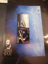 Belgien Block 185 aus Jahrgang 2014 postfrisch Musikinstrumente Saxophon Sax
