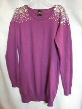 2b Bebe Plum with Silver Sequin Long Sleeve Sweater Dress / Top size Medium