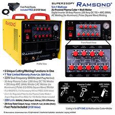 Multi-use 5-in-1 50 Amp Plasma Cut 200 Amp TIG ARC (MMA) AC Pulse Square Welder