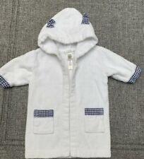 Pottery Barn Kids Terry Bath Robe Navy Blue Checkered Size 0 - 9 Month