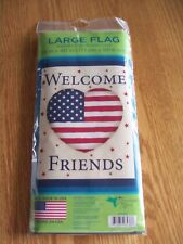 "HUMMINGBIRD HAVEN ""WELCOME FRIENDS"" FULL SIZE DECORATIVE GARDEN FLAG, NIP"