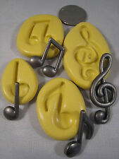 Musical Notes Silicone Mold set of 4 Gumpaste Fondant isomalt polymer clay  304