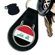 IRAQ FLAG COAT OF ARMS  LEATHER KEYRING / KEYFOB GIFT