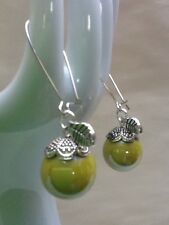 Marble Apple Earrings Yellow glass Tibetan Silver Leaf Charm Fruit Rockabilly