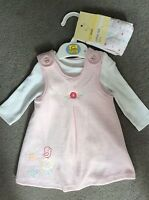 M&S PINK & WHITE 3 PIECE SET-WHITE TOP/PINK DRESS/TIGHTS WITH SPOTS-I MONTH BNWT