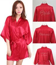 Bride Bridesmaid Robe Beaded Silk Satin Wedding Gown Kimono Sleepwear Bathrobe