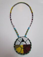 """HAND MADE NATIVE AMERICAN FULLY BEADED TRADITIONAL BIRD DESIGN PENDANT - 16"""" IN"""