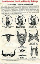 1929 small Print Ad of False Mustaches, Beards & Amazing Make-Up Charlie Chaplin