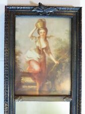 Antique Victorian Wall Trumeau Mirror w/ Portrait Print