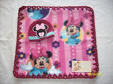 "Preemie Girls Baby Feet 14x13""MinnieMouse Fleece & Crochet Blanket/Hat Set 3"