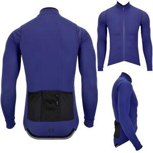 Warm adidas Men's Winter Bike Jacket Long Sleeve Bicycle Jersey Men Dark Blue