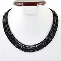 RARE 160.00 CTS NATURAL 5 STRAND ROUND FACETED RICH BLACK SPINEL BEADS NECKLACE