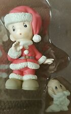 Precious Moments Figurine Boy in Santa's Clothes with Dog Enesco Figurine 1995