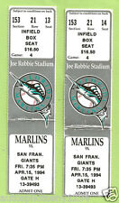 3 1994 Joe Robbie Stadium Florida Marlins vs. S.F. Giants Ticket Stubs 4/15/94