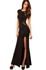 Women's King-size Black Maxi Dress with Lace Back and Fishtail Size 16-18