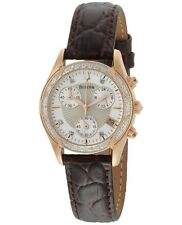NEW Bulova Women's Diamond Brown Leather Band Ladies Watch 32MM