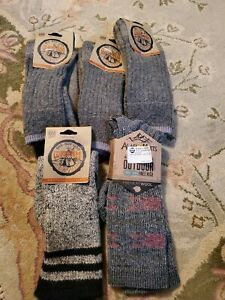 Wigwam Adult Classic Natural & Black Pine Lodge Boot Socks, Size Medium 5 pairs!