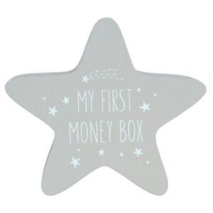 NEW - Grey Unisex Wooden Star First Money Box - Ideal Baby Shower/Newborn Gift
