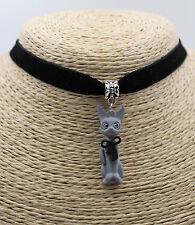 Cute Gray Sitting Cat Kitten Pet Bow Lady Pendant Choker Collar Bib Necklace #01