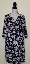 J.Jill Women's Small Navy Floral Pockets 3/4 Sleeve Casual Career Shift Dress