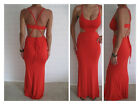 Women's Summer Sexy Cut Out Red Body cone Maxi Evening Casual Party Dress Size 8