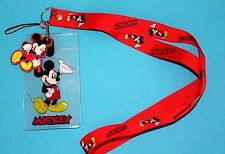 MICKEY MOUSE Red Repeat ID Holder LANYARD Keychain w//Charm