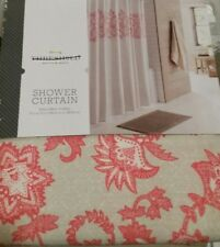 Threshold Coral  Tan Floral Printed Shower Curtain