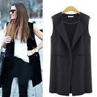 Womens Sleeveless Lapel Waistcoat Long Blazer Cardigan Coat Jacket Duster Tops