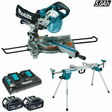 Makita DLS714NZ 18v/36v Brushless Mitre Saw + 2 x 5Ah Batteries Charger & Stand