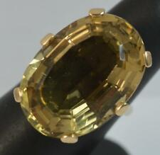 HUGE Citrine & 9ct Gold Solitaire Cocktail Ring f0345