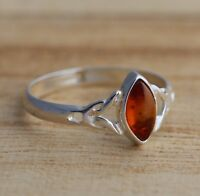 Cognac Baltic Amber 925 Sterling Silver Celtic Design Ring Jewellery