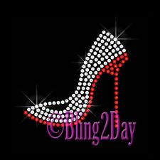 Small High Heel Stiletto - Custom Color - Rhinestone Iron on Transfer Shoe Bling