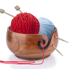 Hand Made Wooden Knitting Crochet   Bowl Yarn Wool Tool Holder Storage Needles