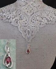 """African Ruby, Natural Zircon NECKLACE (20"""") TGW 0.92 cts Platinum/Silver"""