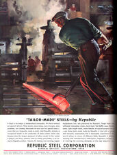 Paul Gerding Republic Steel Mill ROLLING BARS Steel Worker 1935 Print Ad