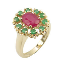 AAA Ruby Emerald 14K SOLID YELLOW GOLD  Ring Size 5.25 Rentrée Des Classes Sale
